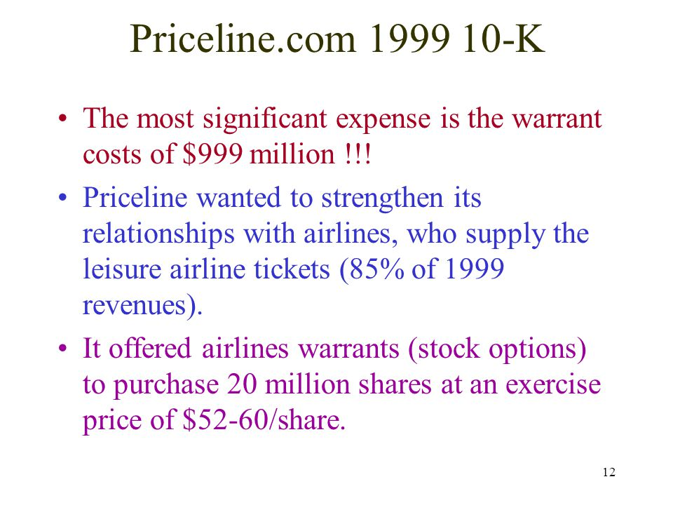 12 Priceline.com 1999 10-K The most significant expense is the warrant costs of $999 million !!! Priceline wanted to strengthen its relationships with