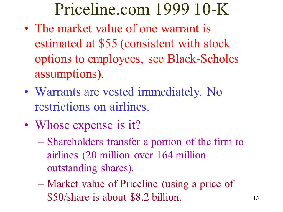 13 Priceline.com 1999 10-K The market value of one warrant is estimated at $55 (consistent with stock options to employees, see Black-Scholes assumpti
