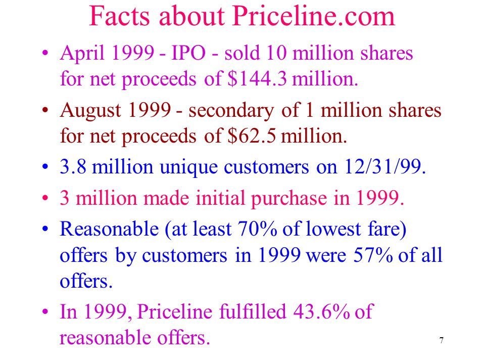 7 Facts about Priceline.com April 1999 - IPO - sold 10 million shares for net proceeds of $144.3 million. August 1999 - secondary of 1 million shares