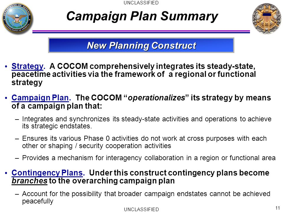 11 UNCLASSIFIED Campaign Plan Summary  Strategy.