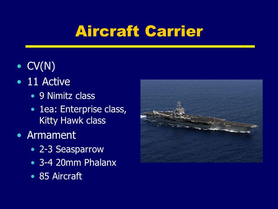 Aircraft Carrier CV(N) 11 Active 9 Nimitz class 1ea: Enterprise class, Kitty Hawk class Armament 2-3 Seasparrow 3-4 20mm Phalanx 85 Aircraft