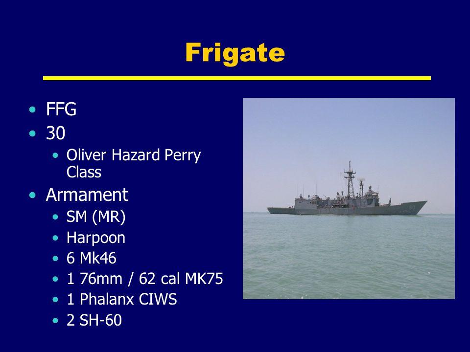 Frigate FFG 30 Oliver Hazard Perry Class Armament SM (MR) Harpoon 6 Mk46 1 76mm / 62 cal MK75 1 Phalanx CIWS 2 SH-60
