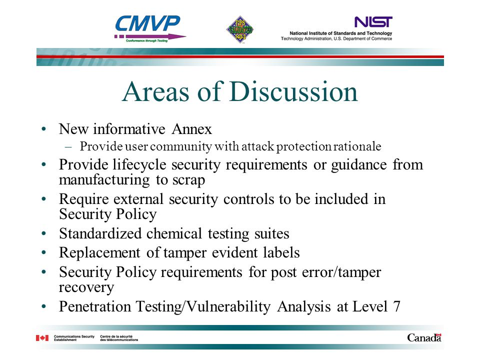 Areas of Discussion New informative Annex –Provide user community with attack protection rationale Provide lifecycle security requirements or guidance