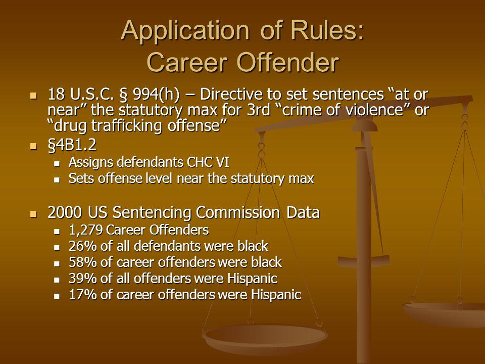 Application of Rules: Career Offender 18 U.S.C.