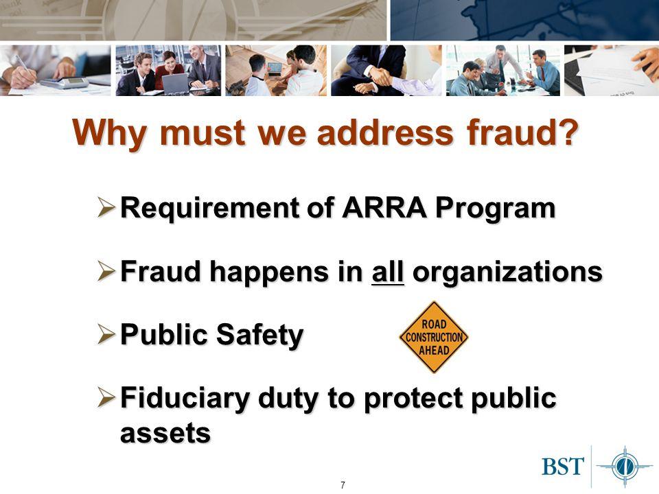 8 Why must we address fraud.