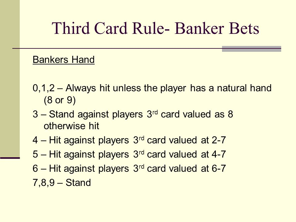 Third Card Rule- Banker Bets Bankers Hand 0,1,2 – Always hit unless the player has a natural hand (8 or 9) 3 – Stand against players 3 rd card valued