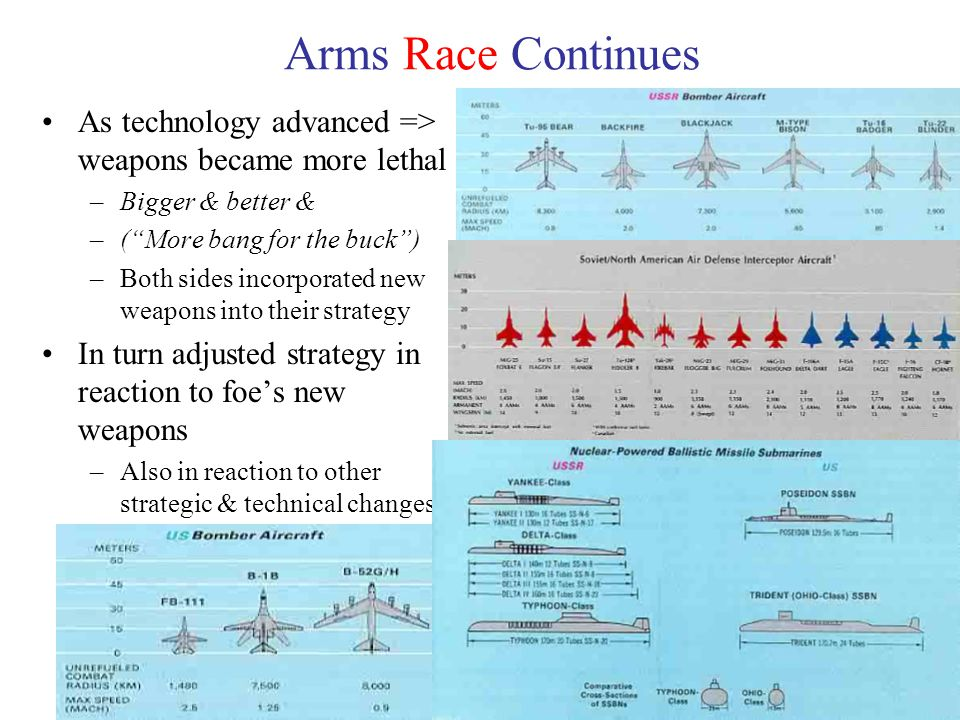 16 Arms Race Continues As technology advanced => weapons became more lethal –Bigger & better & –( More bang for the buck ) –Both sides incorporated new weapons into their strategy In turn adjusted strategy in reaction to foe's new weapons –Also in reaction to other strategic & technical changes