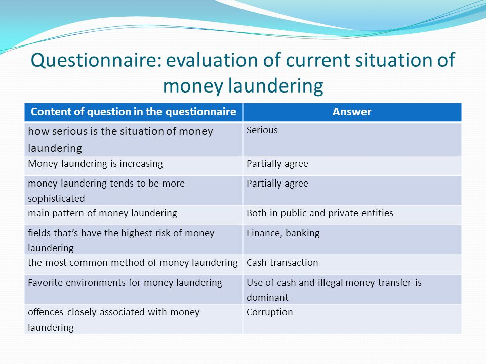 Questionnaire: evaluation of current situation of money laundering Content of question in the questionnaireAnswer how serious is the situation of money laundering Serious Money laundering is increasingPartially agree money laundering tends to be more sophisticated Partially agree main pattern of money launderingBoth in public and private entities fields that's have the highest risk of money laundering Finance, banking the most common method of money launderingCash transaction Favorite environments for money laundering Use of cash and illegal money transfer is dominant offences closely associated with money laundering Corruption