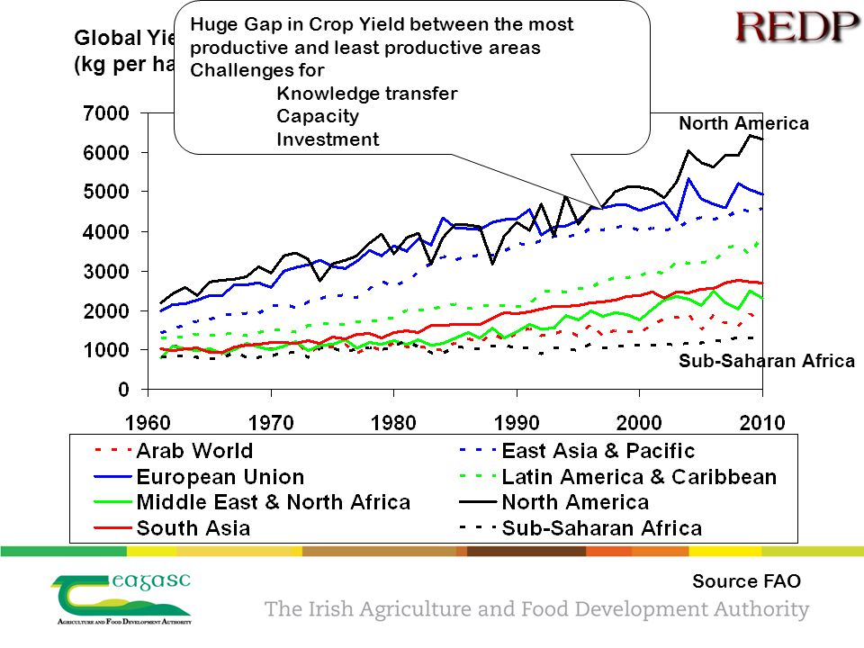 Global Yield Variability (kg per ha) Sub-Saharan Africa North America Huge Gap in Crop Yield between the most productive and least productive areas Challenges for Knowledge transfer Capacity Investment Source FAO