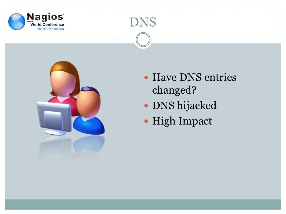 DNS Have DNS entries changed? DNS hijacked High Impact