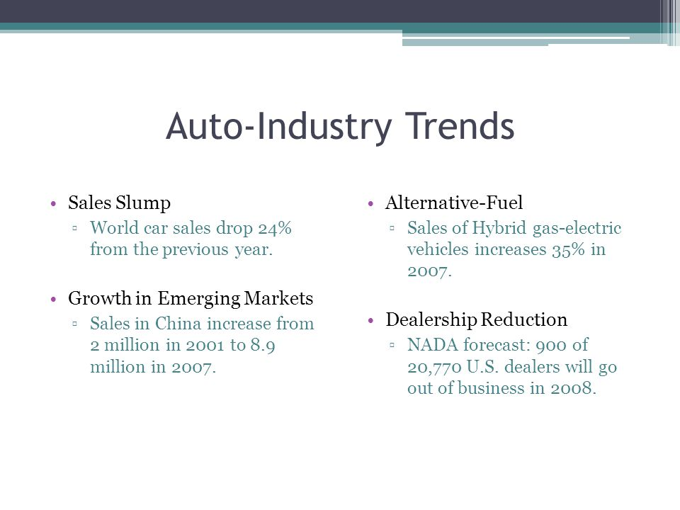 Auto-Industry Trends Sales Slump ▫World car sales drop 24% from the previous year.