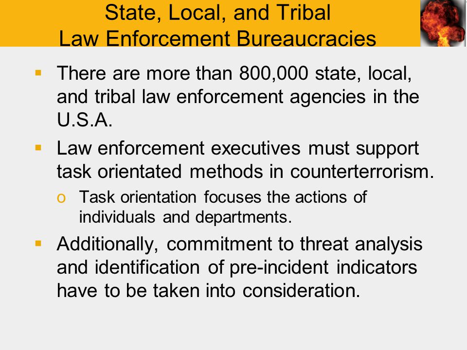State, Local, and Tribal Law Enforcement Bureaucracies  There are more than 800,000 state, local, and tribal law enforcement agencies in the U.S.A.