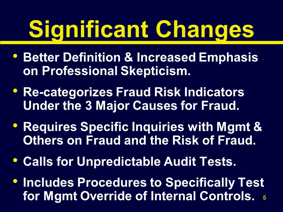 6 Definition of Fraud An intentional act that results in a material misstatement in financial statements that are the subject of an audit. Two Types of Fraud 1.