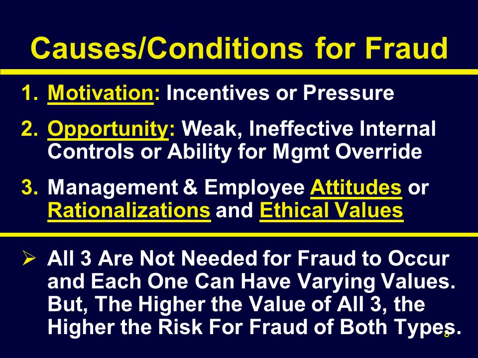 29 Responding to Fraud Risks (con't) Assign Appropriate Personnel Assess GAAP Selection Bias Design Additional or Different Audit Tests as Corroborating Evidence and Consider Optimal Timing & Locations.
