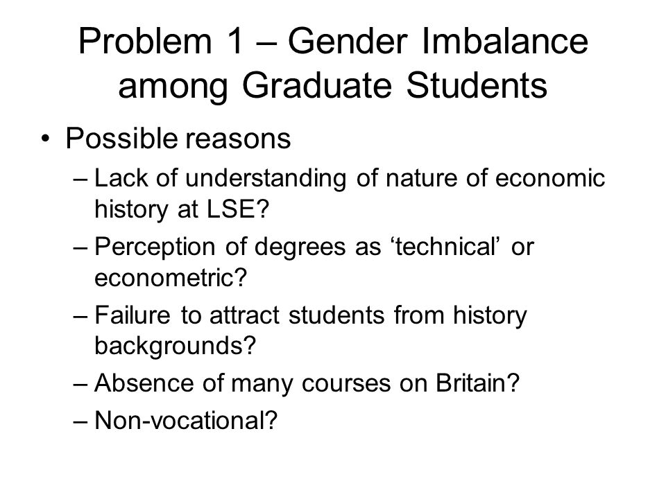 Problem 1 – Gender Imbalance among Graduate Students Possible reasons –Lack of understanding of nature of economic history at LSE? –Perception of degr