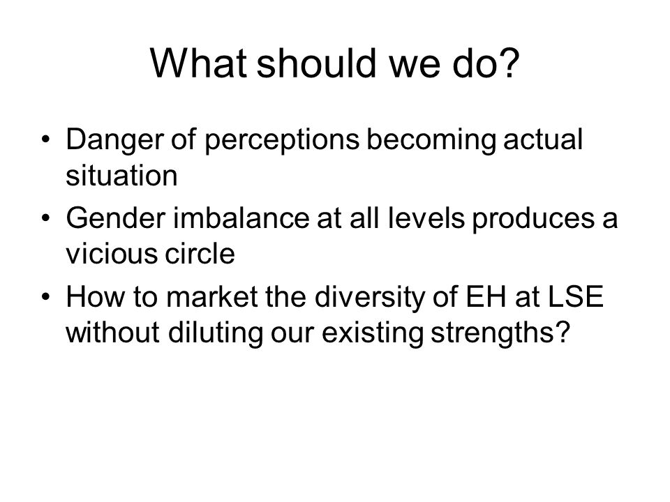 What should we do? Danger of perceptions becoming actual situation Gender imbalance at all levels produces a vicious circle How to market the diversit