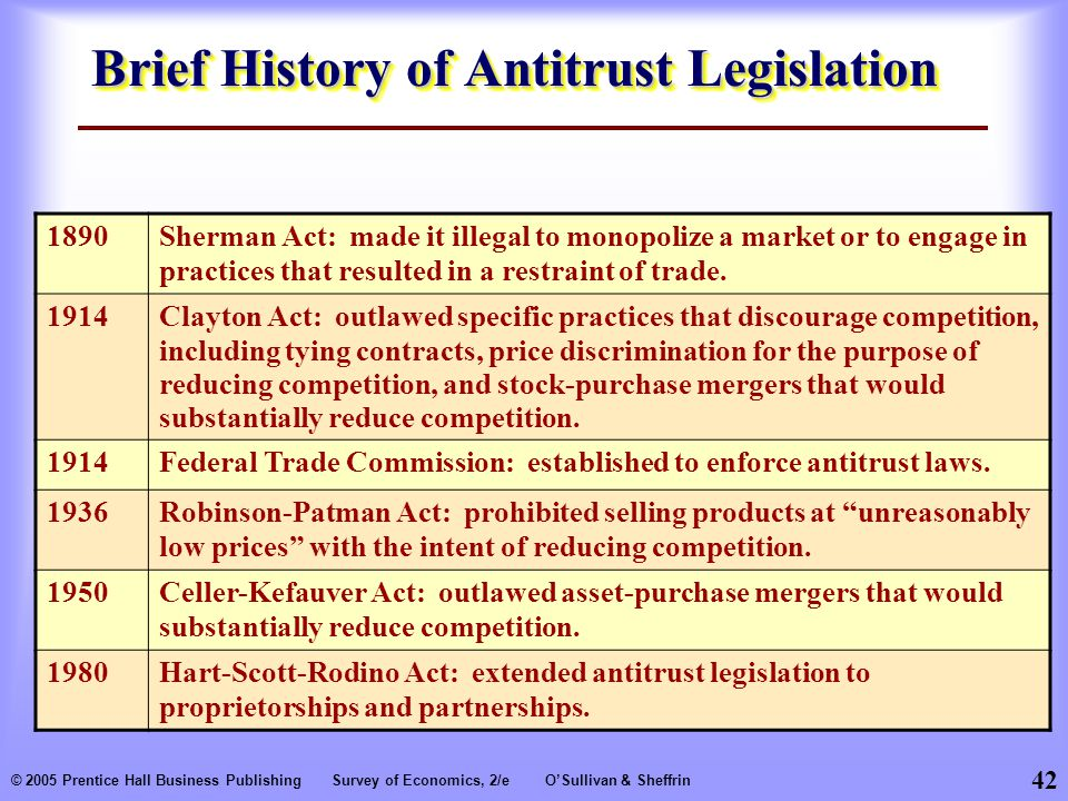 42 © 2005 Prentice Hall Business PublishingSurvey of Economics, 2/eO'Sullivan & Sheffrin Brief History of Antitrust Legislation 1890Sherman Act: made it illegal to monopolize a market or to engage in practices that resulted in a restraint of trade.
