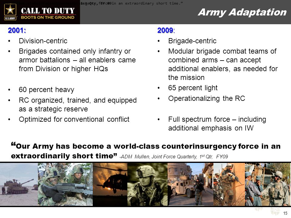 Army's Desired QDR Outcomes Agreement on the Strategic Environment / Future What is the strategy to meet the environment.