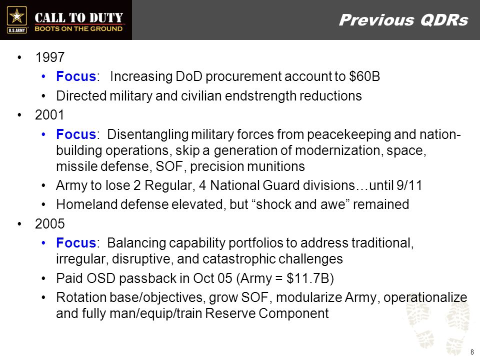 Quadrennial Roles & Missions Review Congressionally directed, every 4 years starting in 2008 –Conducted year before each QDR, –First report submitted Jan 2009 Goal: Improve the effectiveness of joint, interagency operations Report limited in scope –Irregular warfare, Cyberspace, Intra-Theater airlift, Unmanned air systems/ISR, Interagency opportunities Results: –No significant changes to Roles & Missions included –Affirmed both SOF & GPF have significant IW responsibilities –Joint Cargo Aircraft (C27J) assigned to Army, AF for time sensitive/mission critical transport 9
