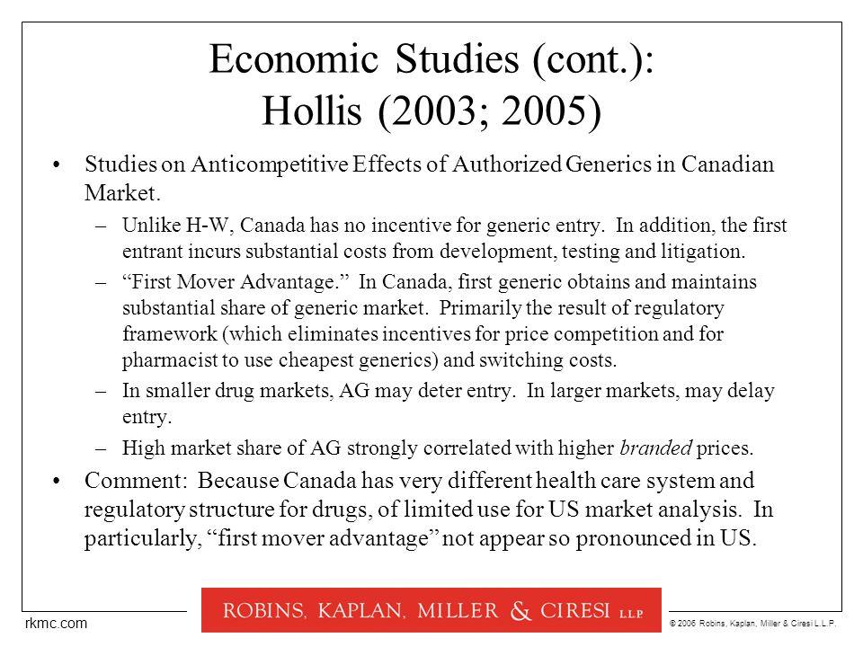 © 2006 Robins, Kaplan, Miller & Ciresi L.L.P. rkmc.com Economic Studies (cont.): Hollis (2003; 2005) Studies on Anticompetitive Effects of Authorized