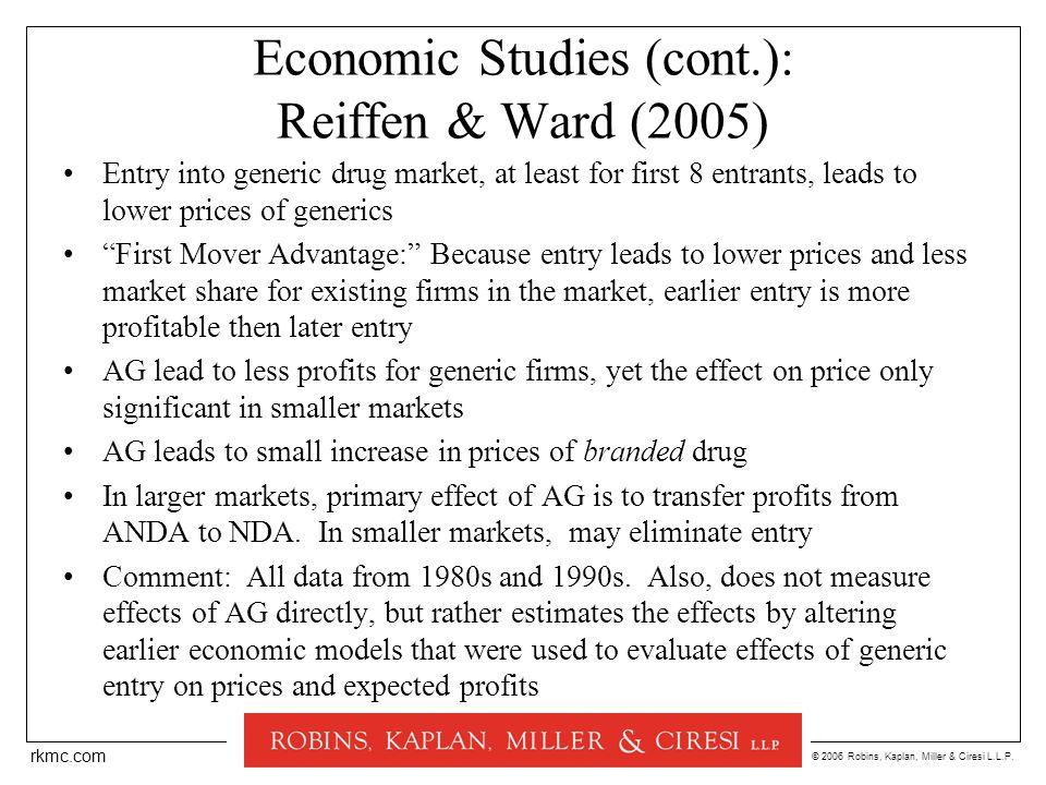 © 2006 Robins, Kaplan, Miller & Ciresi L.L.P. rkmc.com Economic Studies (cont.): Reiffen & Ward (2005) Entry into generic drug market, at least for fi