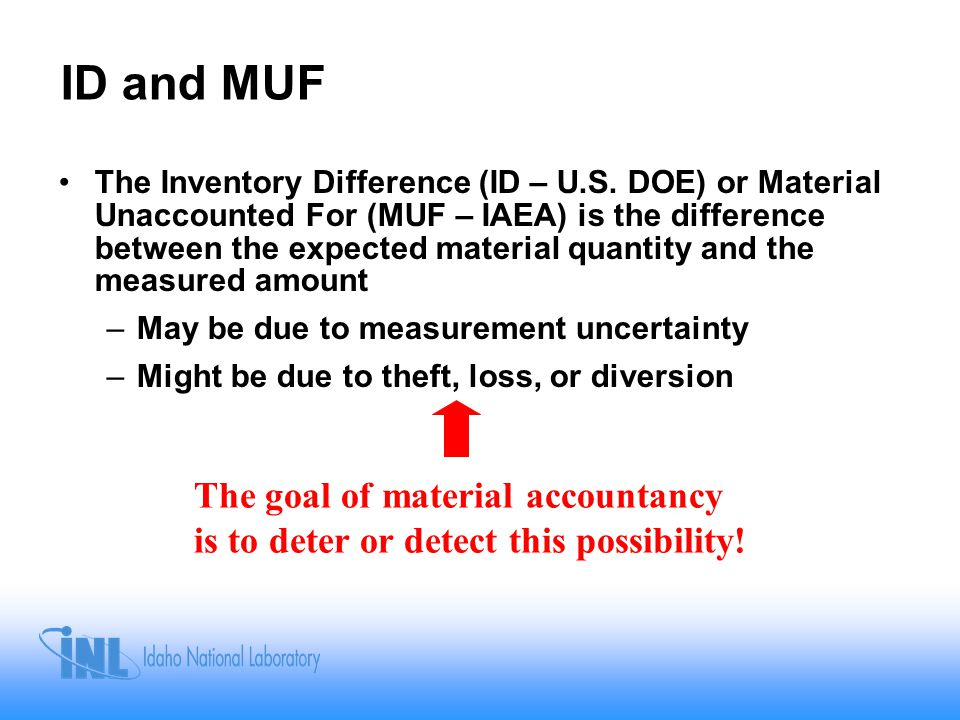 ID and MUF The Inventory Difference (ID – U.S.