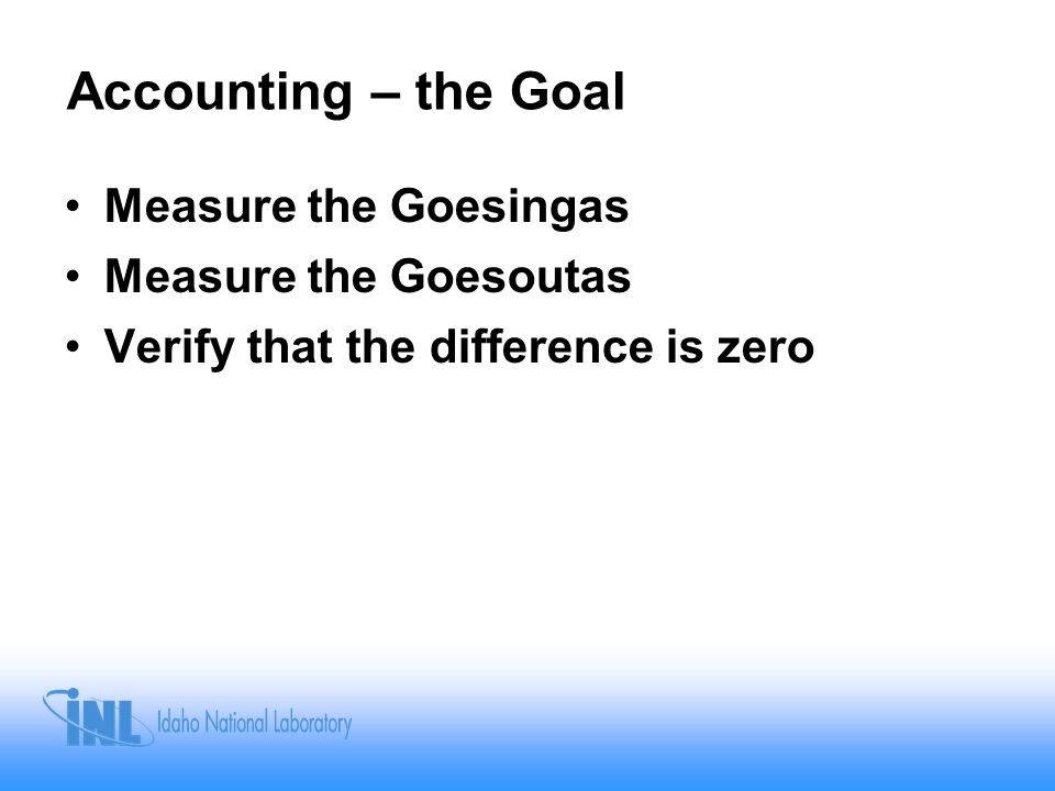 Accounting – Reality Devise a system of tracking, measuring, and accounting for nuclear material to deter or detect theft or loss The IAEA accounting goal is to devise a system whereby the State's accountancy program and its results can be verified