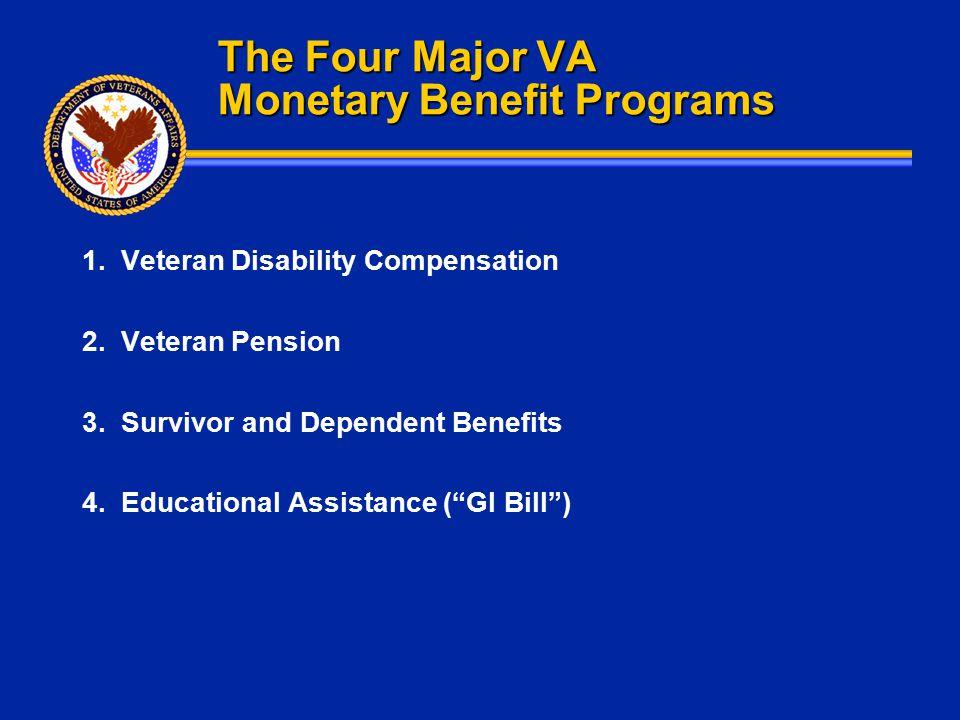 The Four Major VA Monetary Benefit Programs 1. Veteran Disability Compensation 2. Veteran Pension 3. Survivor and Dependent Benefits 4. Educational As