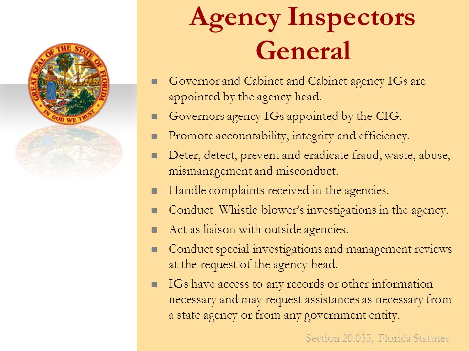Agency Inspectors General Governor and Cabinet and Cabinet agency IGs are appointed by the agency head.