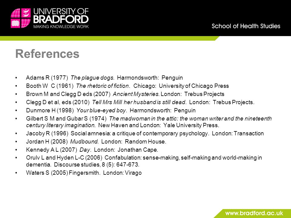References Adams R (1977) The plague dogs.