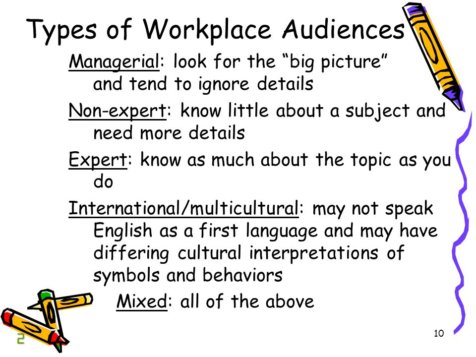 10 Types of Workplace Audiences Managerial: look for the big picture and tend to ignore details Non-expert: know little about a subject and need more details Expert: know as much about the topic as you do International/multicultural: may not speak English as a first language and may have differing cultural interpretations of symbols and behaviors Mixed: all of the above 2