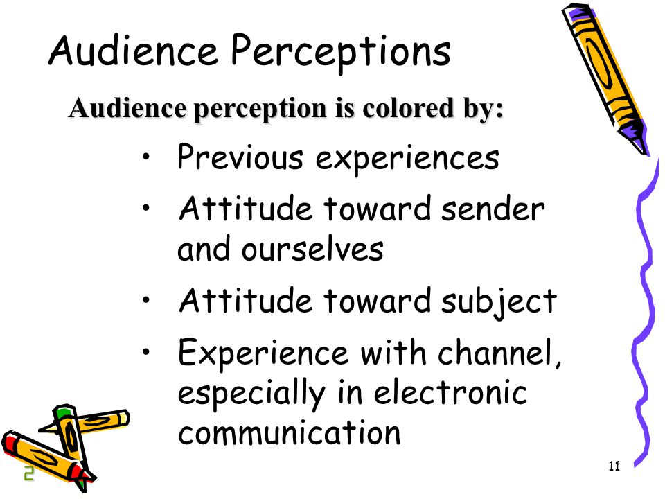 11 Audience Perceptions Previous experiences Attitude toward sender and ourselves Attitude toward subject Experience with channel, especially in electronic communication Audience perception is colored by: 2