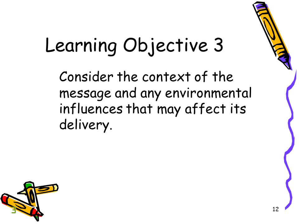 12 Learning Objective 3 Consider the context of the message and any environmental influences that may affect its delivery.