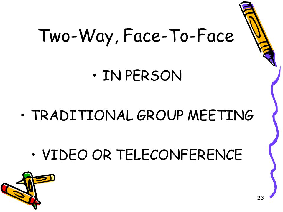 23 Two-Way, Face-To-Face IN PERSON TRADITIONAL GROUP MEETING VIDEO OR TELECONFERENCE