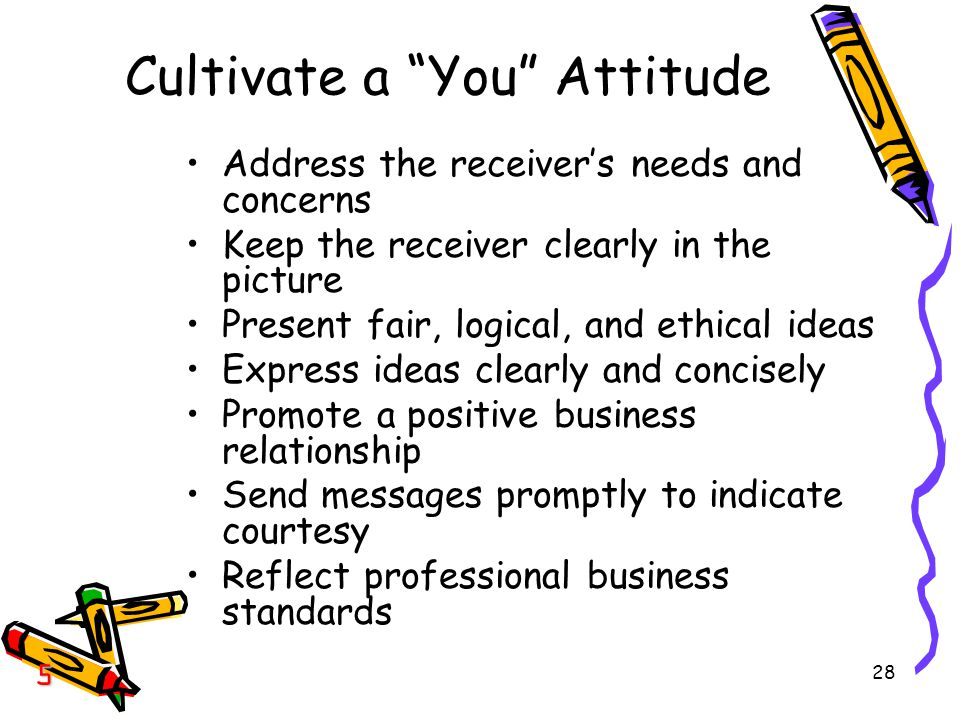 28 Cultivate a You Attitude Address the receiver's needs and concerns Keep the receiver clearly in the picture Present fair, logical, and ethical ideas Express ideas clearly and concisely Promote a positive business relationship Send messages promptly to indicate courtesy Reflect professional business standards 5