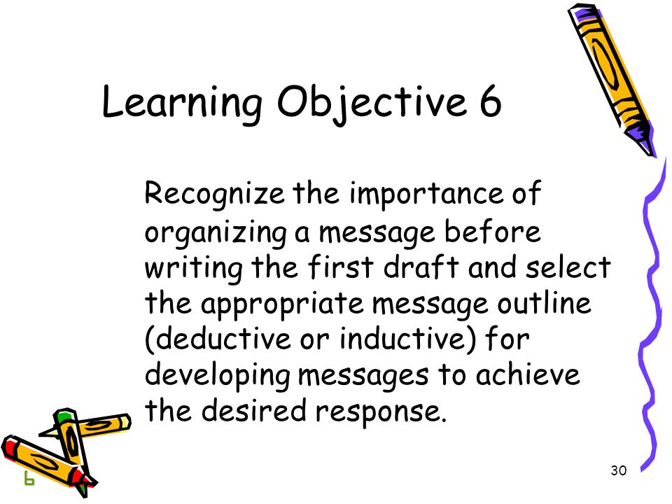 30 Learning Objective 6 Recognize the importance of organizing a message before writing the first draft and select the appropriate message outline (deductive or inductive) for developing messages to achieve the desired response.