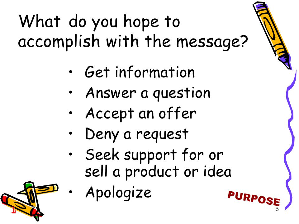6 What do you hope to accomplish with the message.