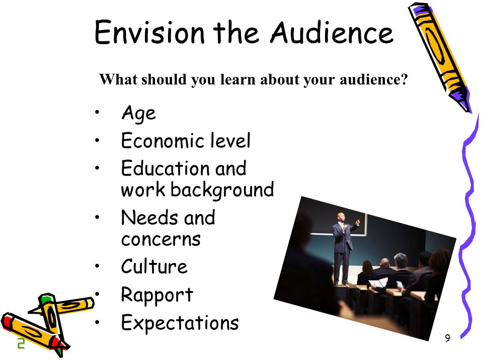 9 Envision the Audience Age Economic level Education and work background Needs and concerns Culture Rapport Expectations What should you learn about your audience.