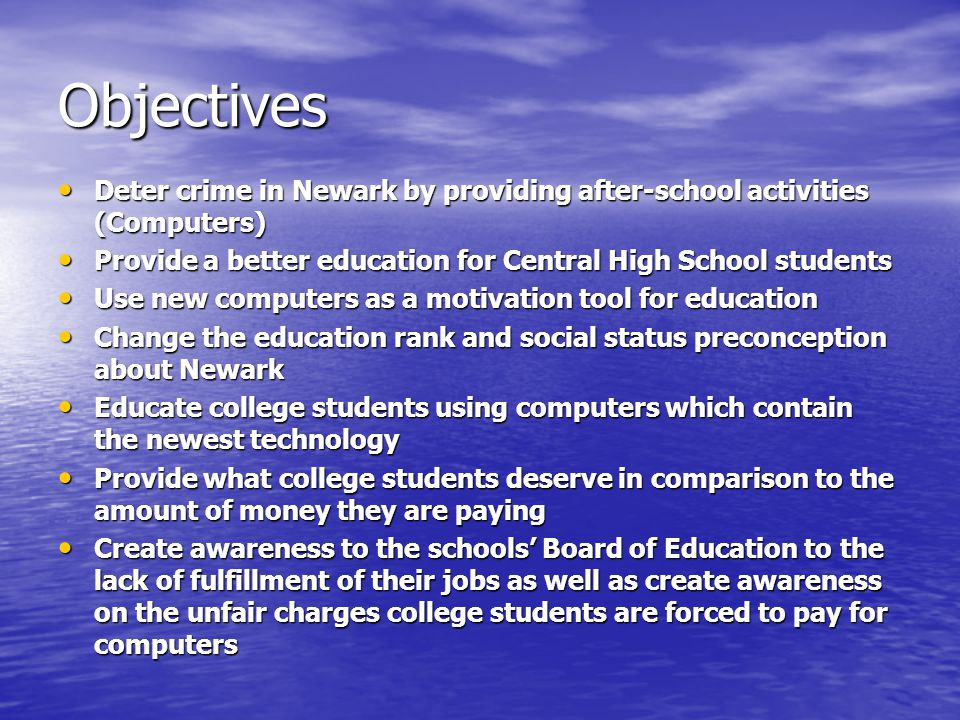 Content/Background Part 1 The installation of computers in Central High School provides a positive after-school activity rather then a negative activity outside of school.