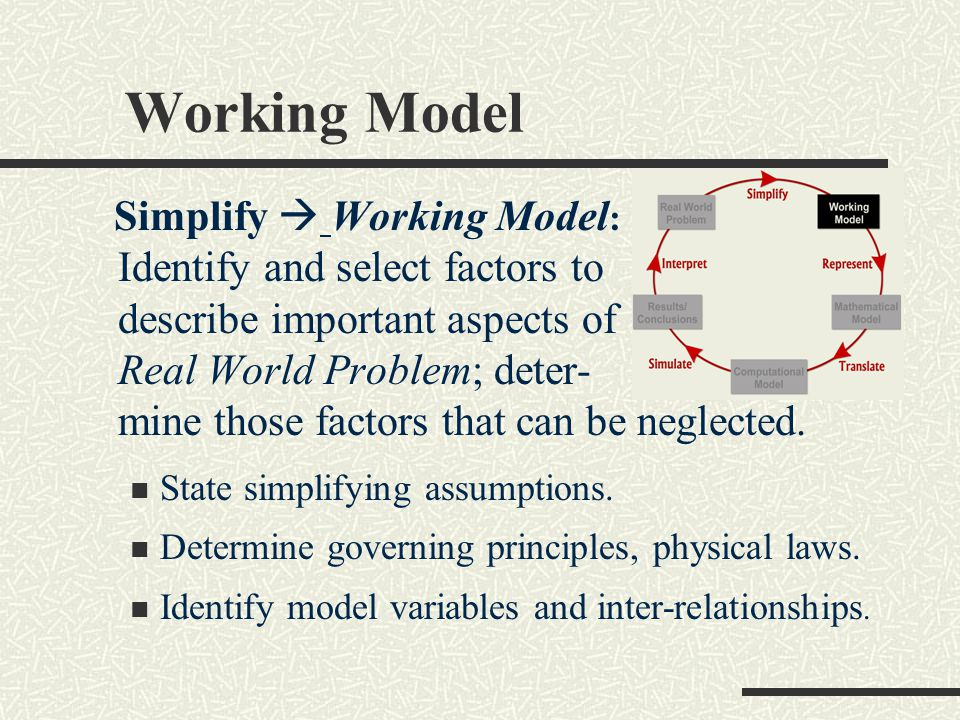 Working Model Simplify  Working Model : Identify and select factors to describe important aspects of Real World Problem; deter- mine those factors that can be neglected.