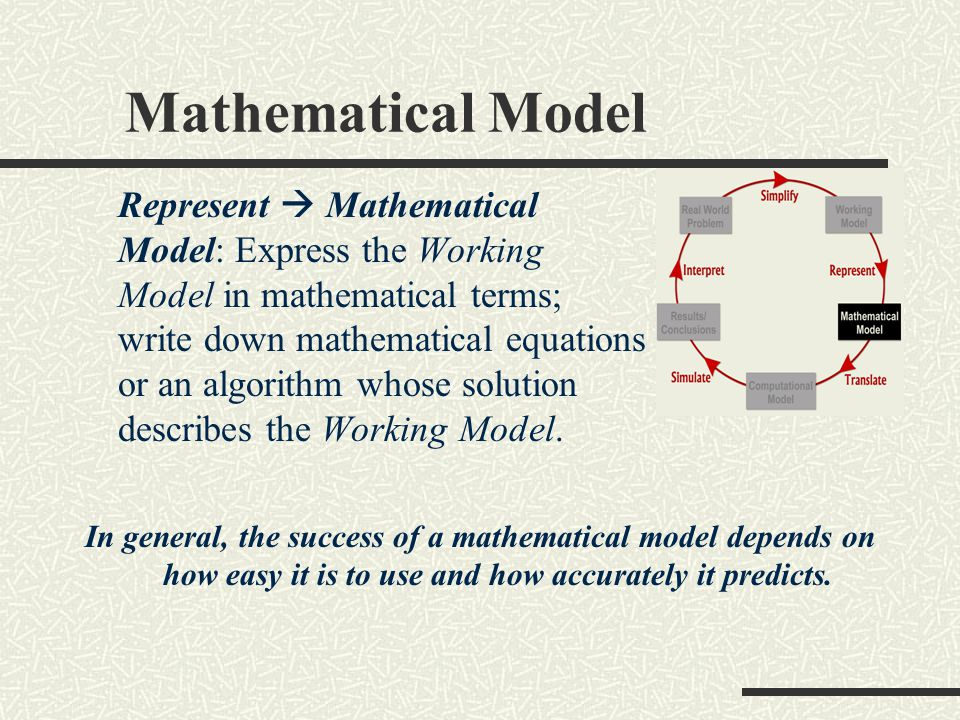 Mathematical Model Represent  Mathematical Model: Express the Working Model in mathematical terms; write down mathematical equations or an algorithm whose solution describes the Working Model.