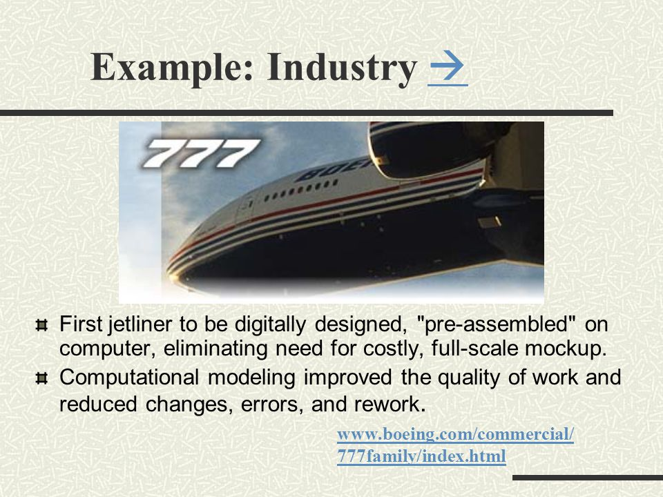 Example: Industry   First jetliner to be digitally designed, pre-assembled on computer, eliminating need for costly, full-scale mockup.