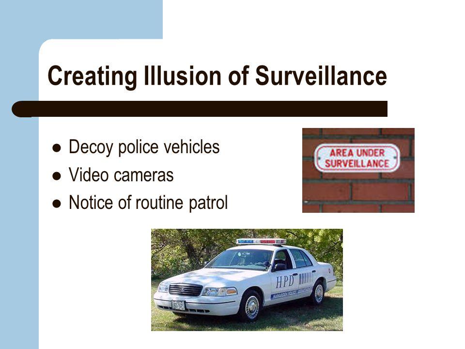 Creating Illusion of Surveillance Decoy police vehicles Video cameras Notice of routine patrol
