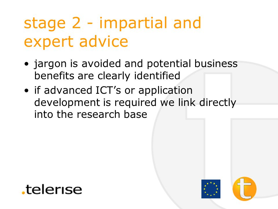 stage 2 - impartial and expert advice an action plan is drawn up with the client outlining a recommended course of action they should consider: –review business –feasibility study –competitive analysis –budget –technical advice –training plan