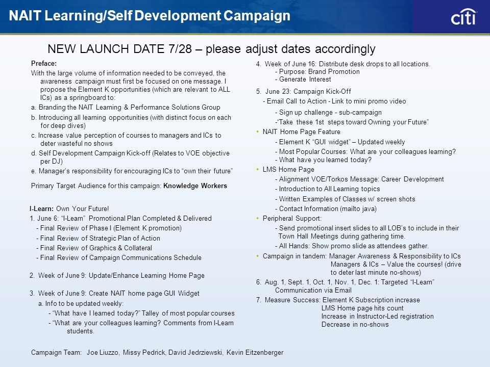 NAIT Learning/Self Development Campaign I-Learn: Own Your Future.