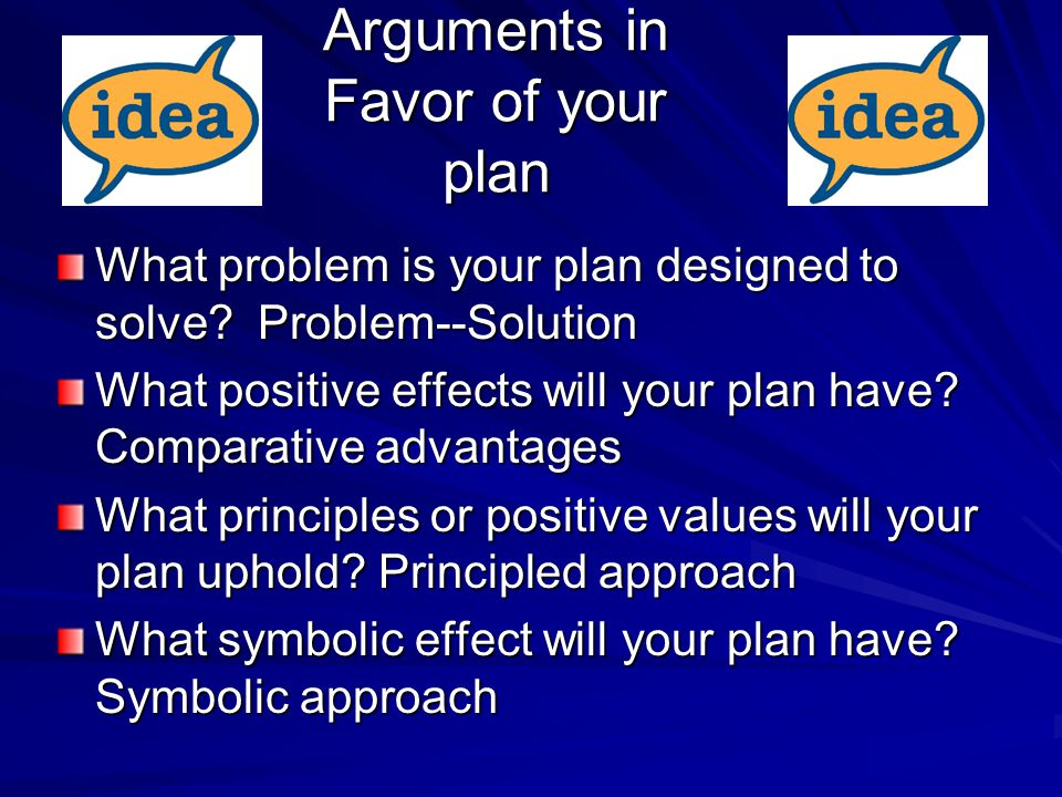 Arguments in Favor of your plan What problem is your plan designed to solve.