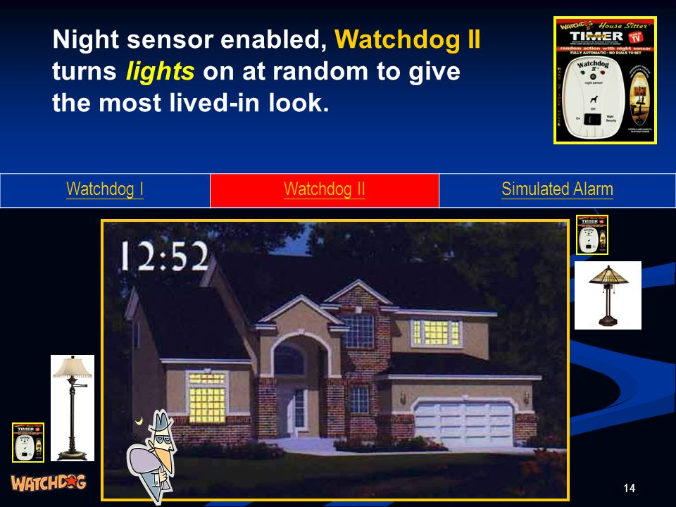 14 Watchdog IWatchdog IISimulated Alarm Night sensor enabled, Watchdog II turns lights on at random to give the most lived-in look.