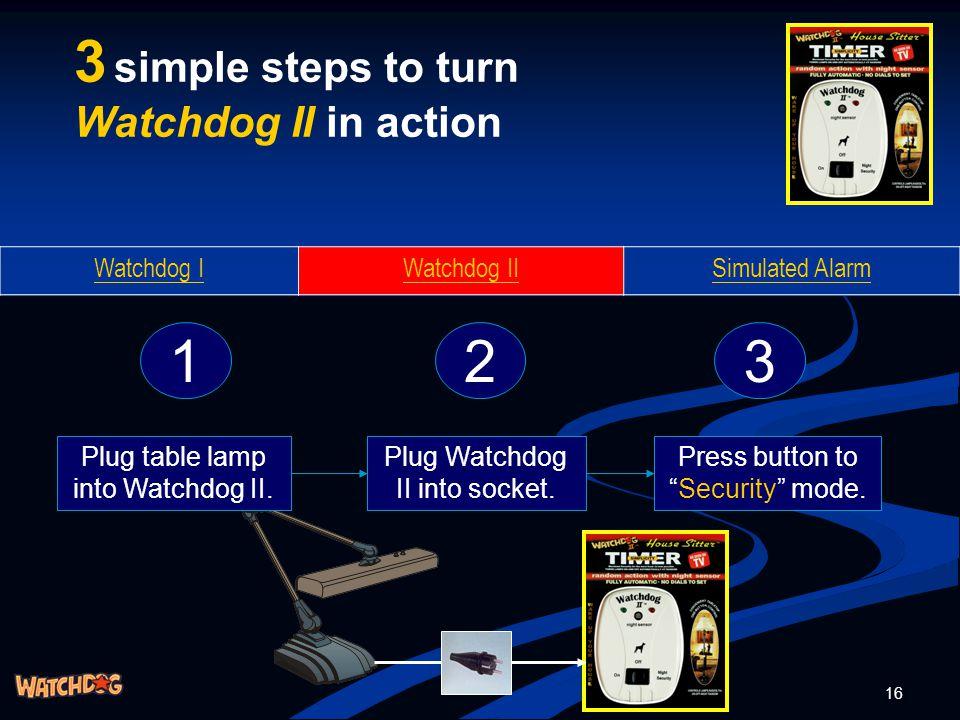 16 3 simple steps to turn Watchdog II in action Watchdog IWatchdog IISimulated Alarm 123 Plug table lamp into Watchdog II. Plug Watchdog II into socke