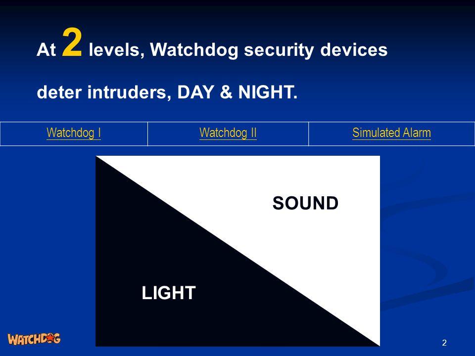 2 At 2 levels, Watchdog security devices deter intruders, DAY & NIGHT. Watchdog IWatchdog IISimulated Alarm SOUND LIGHT