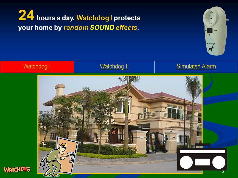 6 24 hours a day, Watchdog I protects your home by random SOUND effects.